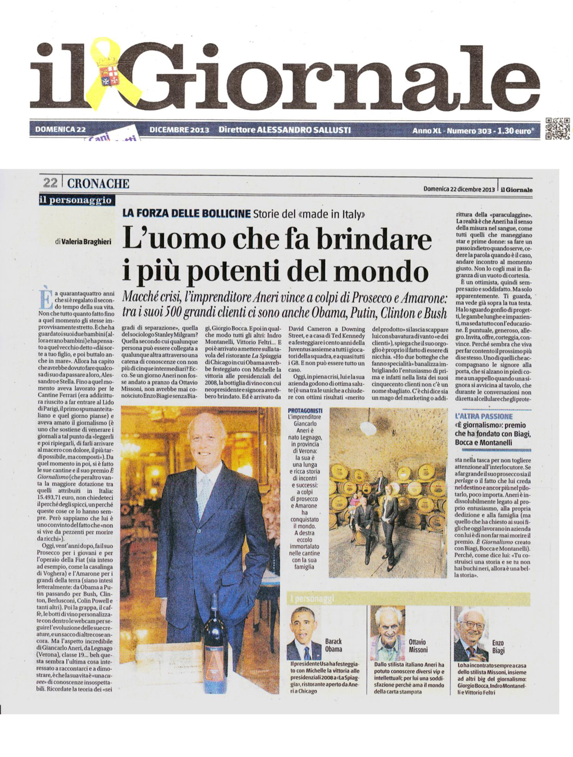 IL GIORNALE-Giancarlo Aneri dicembre 2013