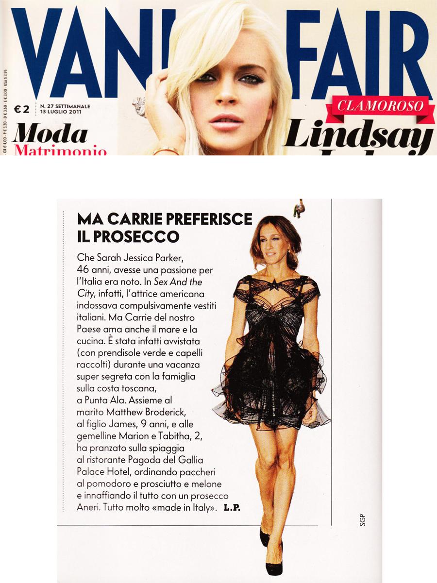 Vanity fair-Sarah Jessica Parker e prosecco Aneri